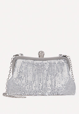 bebe Metallic Mesh Clutch