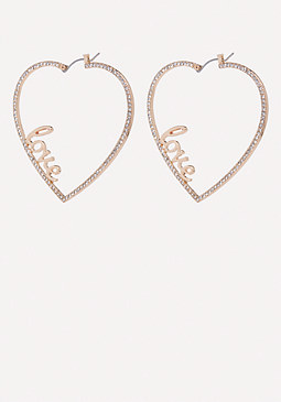 bebe Crystal Love Heart Earrings
