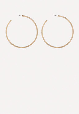 bebe Large Crystal Hoop Earrings