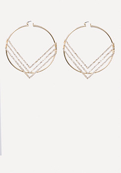 bebe Chevron Hoop Earrings