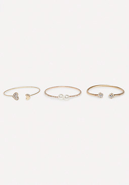 bebe Crystal & Pearl Bangle Set