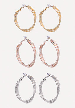 bebe Multi-Hue Hoop Earring Set
