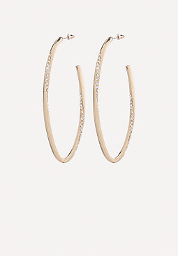 bebe Crystal Oval Hoop Earrings