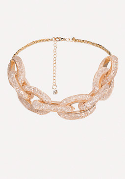 bebe Crystal Link Necklace