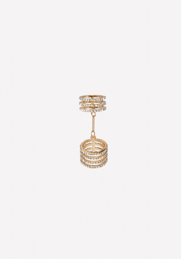 Chain Linked Crystal Ring by Bebe