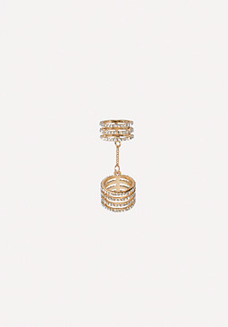 bebe Chain Linked Crystal Ring