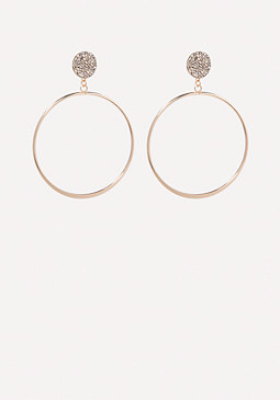 bebe Crystal Stud Hoop Earrings