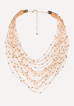 bebe Chain & Bead Necklace