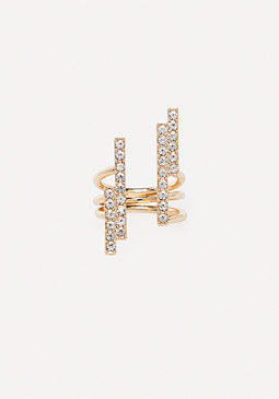 bebe Crystal Bars Ring