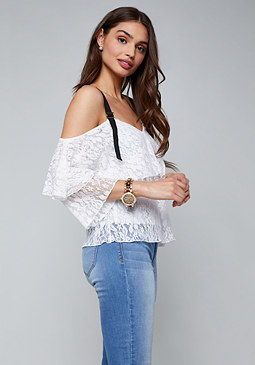 bebe Lace Grosgrain Strap Top