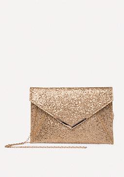 Bebe Glittering Envelope Clutch