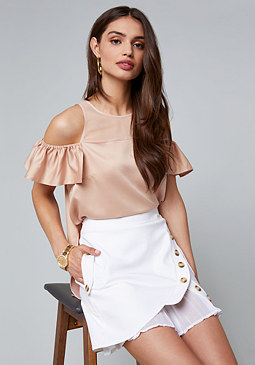 bebe Satin Cold Shoulder Top