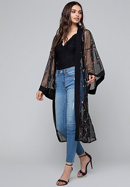 bebe Embroidered Duster