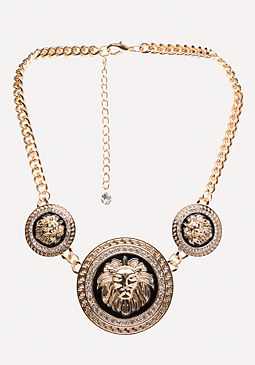 bebe Lion Medallion Necklace