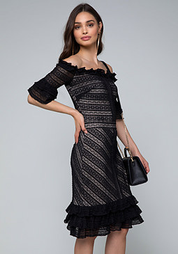 bebe Lace Ruffled Dress