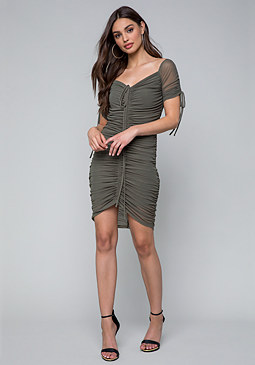 bebe Shirred Mesh Dress