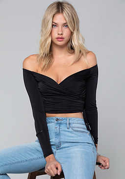 bebe Shirred Jersey Wrap Top
