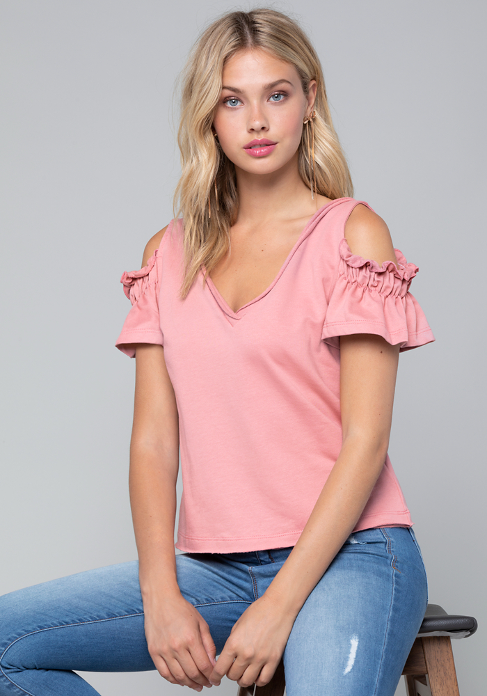 Sandra Cold Shoulder Top by Bebe