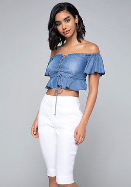 bebe Chambray Lace Up Crop Top