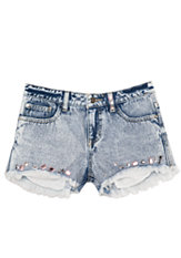 bebe Rhinestone Denim Shorts