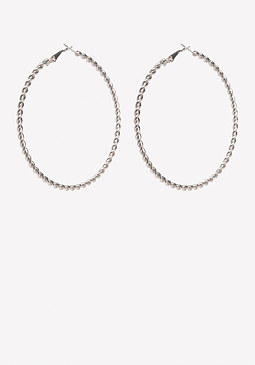 bebe Silver Twist Hoop Earrings