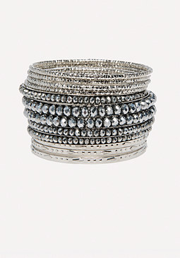 bebe Bead & Metal Bangle Set