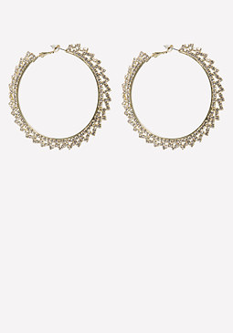 bebe Clear Crystal Hoop Earrings