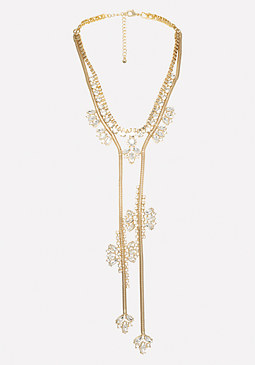 bebe Crystal Lariat Necklace