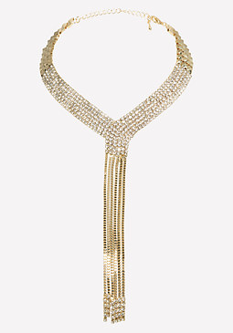 bebe Gold & Crystal Necklace