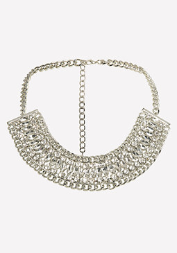 bebe Gray Crystal Chain Necklace