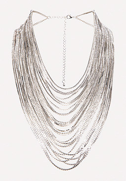 Glam Silver Strand Necklace at bebe
