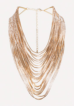 Glam Gold Strand Necklace at bebe