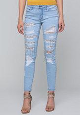 bebe Crystal Chain Skinny Jeans