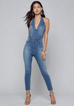bebe Denim Crop Halter Jumpsuit