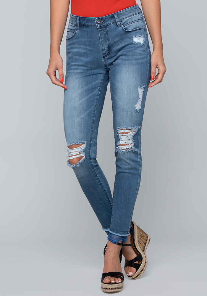 Delicate Edge Skinny Jeans by Bebe