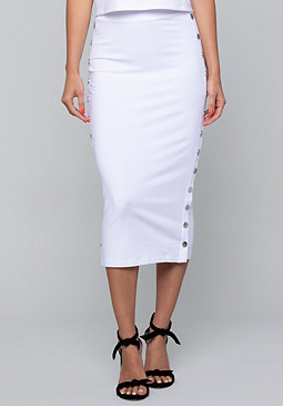 bebe Logo Side Snap Midi Skirt