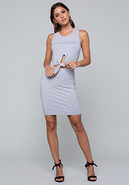 bebe Logo Terry Tie Waist Dress