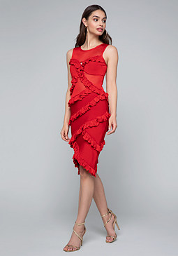 bebe Bibiana Ruffled Dress
