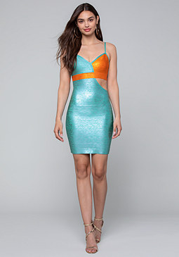 bebe Contrast Foil Mini Dress