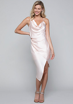 bebe Satin Asymmetric Slip Dress