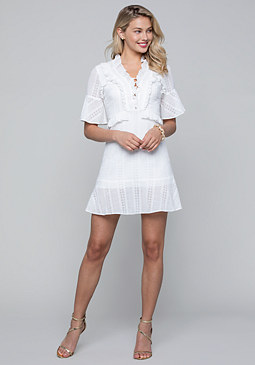 bebe Ruffled Eyelet Dress