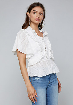 bebe Lace Up Detail Ruffled Top