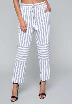 bebe Mix Stripe Crop Pants