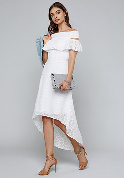 bebe Off Shoulder Hi-Lo Dress