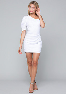 bebe Linen One Shoulder Dress