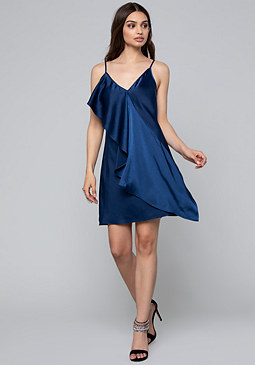 bebe Asymmetric Drape Slip Dress
