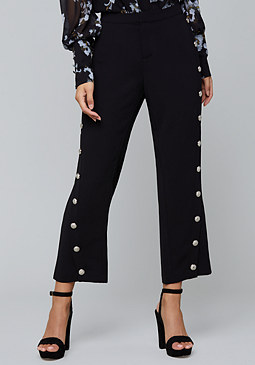 bebe Snap Trim Flare Crop Pants