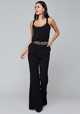bebe Crepe Slouchy Overalls