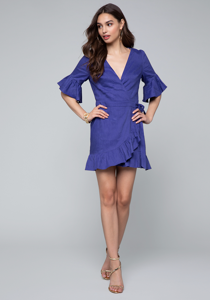Linen Wrap Mini Dress by Bebe