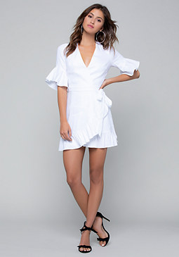 bebe Linen Wrap Mini Dress